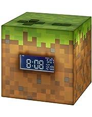 Paladone Minecraft väckarklocka med officiell soluppgångsmusik, brun/grön, 13 x 13, PP6733MCF