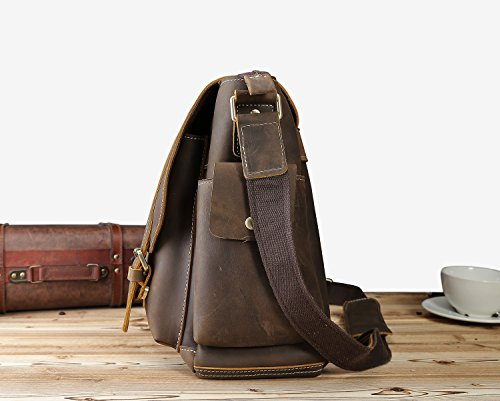 Iswee Leather Crossbody Shoulder Bag Small Messenger Satchel Bag Work Business Travel Bag for Men (Dark Brown) by Iswee (Image #4)