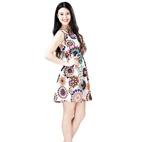 FAPIZI ♥ Women Dress ♥ Women Summer Sleeveless Sunflower Print Lady Casual Beach Mini Dress (L, multicolor)