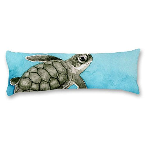 UTF4C Watercolor Blue Sea Turtle Cotton Linen Body Pillow Covers Cases With Double Sided 20'x54',Pillow Cases with Zipper for Pregnant Women
