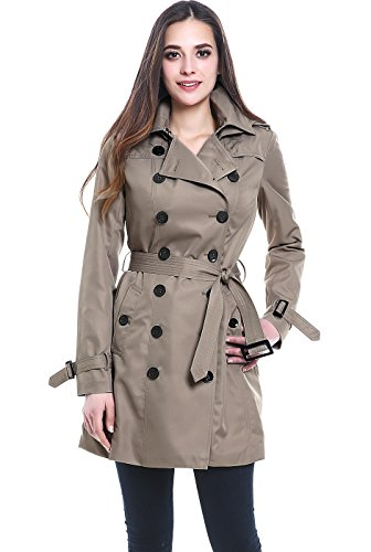 BGSD Women's Viv Waterproof Hooded Mid Length Trench Coat - Taupe XS ()