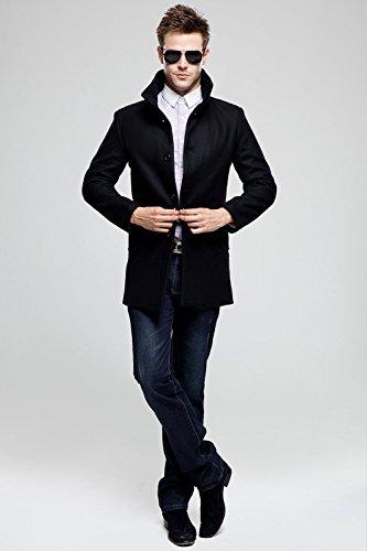 SSLR Manteau Homme Laine Slim Fit Uni Chaud