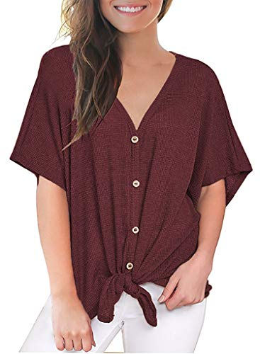 MOUEEY Women's Casual V Neck Tie Knot T-Shirt Button Down Short Sleeve Blouse Tops Wine Red L