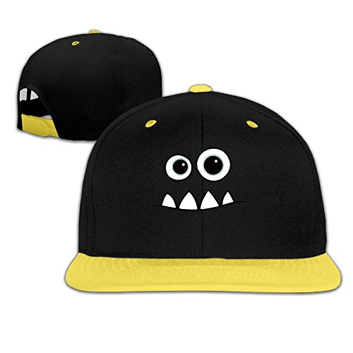 (Toddler Monster Face Fendi Mike Contrast Color Flat Bill Hat Yellow )