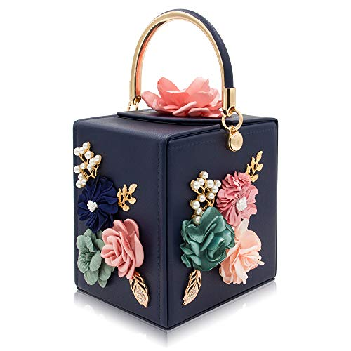 Milisente Evening Clutch Bag for Women Floral Square Box Evening Bags Crossbody Shoulder handBags Flower Wedding Clutch Purse(Blue) (Accented Clutch Handbag)