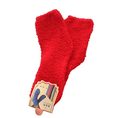 - Tuscom@ Women Cute Autumn&Winter Keep Warm Deodorant Terry Socks (Red)