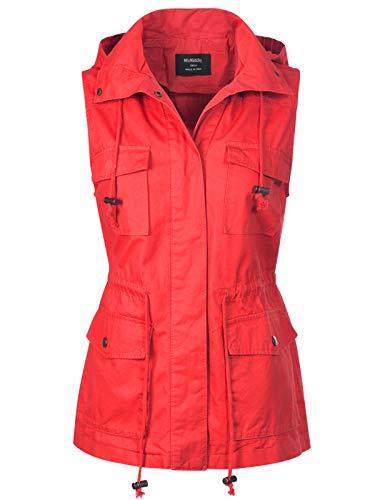 (MixMatchy Women's Drawstring Lightweight Loose Fit Sleeveless Vest Utility Jacket Red)