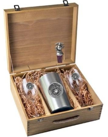 Marine Corps ''USMC'' Wine Set w/ Box by Heritage Pewter