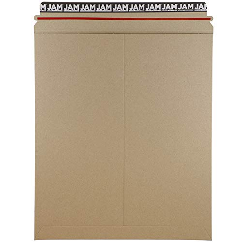 JAM PAPER Stay-Flat Photo Mailer Envelopes with Peel & Seal Closure - 12 3/4 x 15 - Brown Kraft - 6 Rigid Mailers/Pack
