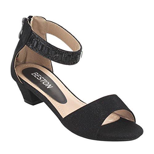 Price comparison product image Beston ID27 Girl's Rhinestone Ankle Strap Back Zipper High Heel Dress Sandals, Color:BLACK, Size:12 M US Little Kid