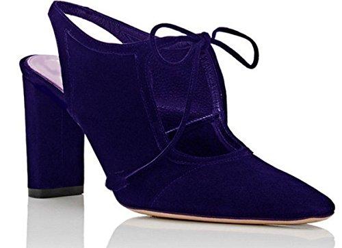 de de Zapatos Azul Ante 11sunshop Mujer Vestir fqHw4nxS