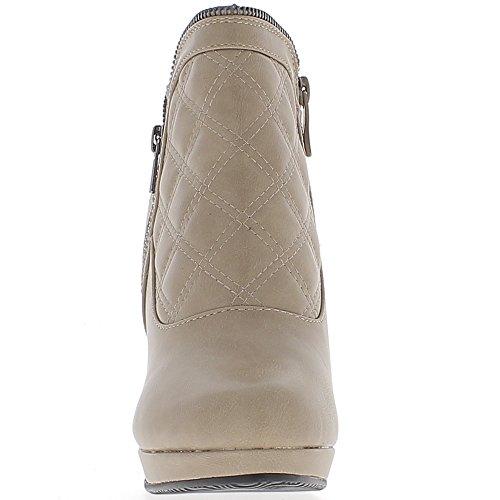 Forrado de tobillo botas 9.5 cm taupe tacón y plataforma acolchada