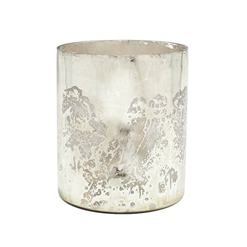 "Serene Spaces Living Antique Silver Cylinder Vase, Large Size - Handmade Mercury Glass Finish & Vintage Style, 7.5"" Tall by Serene Spaces Living"