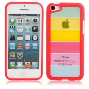 Rainbow Style Protective Case for iPhone 5C Red
