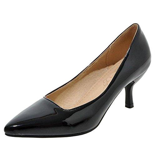 TAOFFEN Women Solid Thin Heel Court Shoes Black