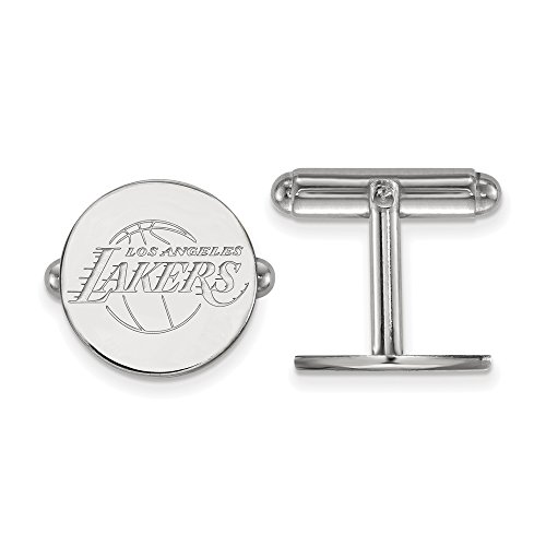 NBA Los Angeles Lakers Cuff Links in Rhodium Plated Sterling Silver by LogoArt