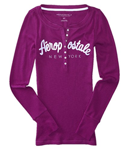 aeropostale-womens-bling-sequin-thermal-henley-shirt-small-purple