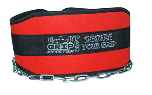 """Cheap Grip Power Pads Premium Lifting Dip Belt With 36"""" Heavy Duty Steel Chain Double Stitching For Men & Women Pull Up Dip Chin Up Belt Weightlifting Premier Dipping (Red)"""