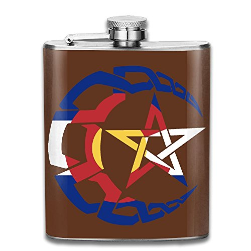 Portable 304 Stainless Steel Hip Flask, Pentacle Crescent Moon Colorado Flag 7 Oz Pocket Flagon Hunting Wine ()