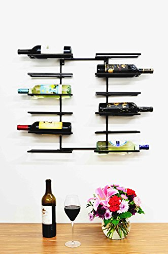 - Superiore Livello Bottle Lucca 12 Bottle Wall Mounted Wine Rack Decorative Metal Shelf Storage with Modern Rustic Vertical Style in Black for Cellar, Party, Bar, Pantry Sturdy Support and Rust-Free