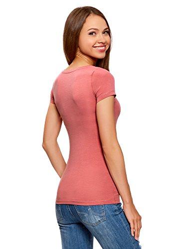 oodji Ultra Mujer Camiseta Básica Entallada Rosa (4A00N)