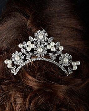Unik Occasions Crystal and Pearl Flower Tiara Hair Comb