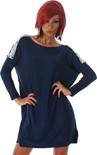 04ea77f1119cc6 Voyelles Pulloverkleid Pullover Fledermausärmel Petrol Longshirt Shirt  Longpulli Sweater Sweatshirt Langarm Carmen-ausschnitt Pulli Damen ...