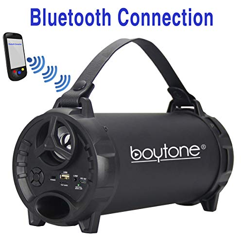 Boytone BT-40BK Bluetooth Indoor/Outdoor Speaker Cylinder Loud with Built-in SD USB Charger, AUX, FM Built in