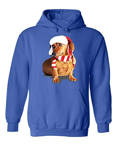 (Falcon's Shop Happy New Year Cute Brown Weiner Dog Costume Unisex Pullover Hoodie Hooded)
