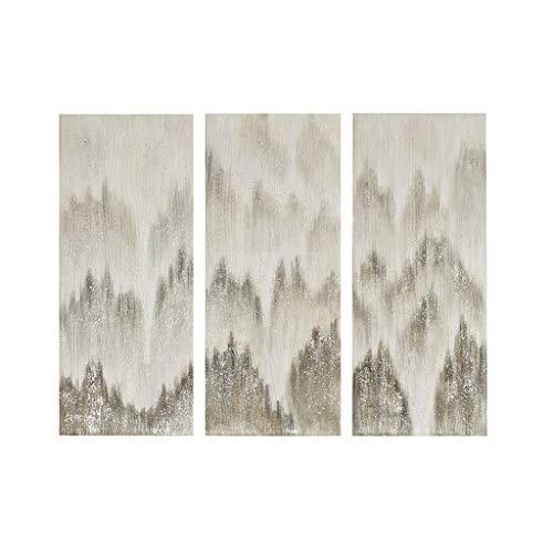 Madison Park Sterling Mist 100% Hand Brush Embellished Canvas 3 Piece Set Grey See Below