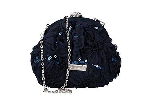 cérémonie pochette VN2411 ouverture femme métallique GIANMARCO Sac VENTURI bleu main PgAvWnB