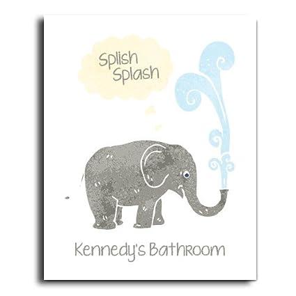 Amazon.com: Wood Sign Children Bathroom Wall, Elephant Bathroom ...
