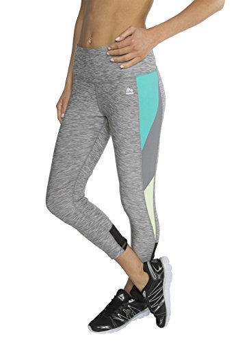 RBX Active Women's Striated Color Block Printed Capri Leggings, Grey / Blue / Green Combo, Large (Mustache Pantyhose)