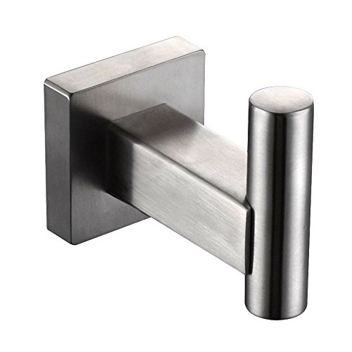 on sale XVL Stainless Steel Coat Hook Single Towel/Robe Clothes Hook for Bath Kitchen Garage Heavy Duty Contemporary Square Style Wall Mounted, Brushed Finish G123