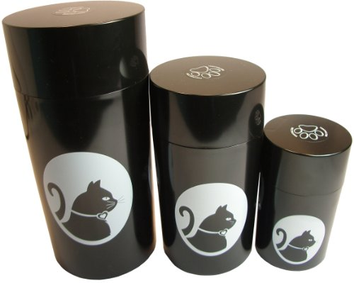 Pawvacs Set of 3 ( 6, 12, 24 Ounce ) Vacuum Sealed Pet Food Storage Containers; Black Cap & Body/White Cat