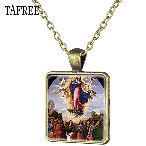 - Pendant Necklaces - Hot The Feast of The Assumption Antique Bronze Plated Square Pendant Necklace Cabochon Dome Jewelry AS28 - by TAFAE - 1 PCs