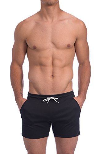 (Gary Majdell Sport Men's Rice Mesh Solid Bodybuilding Gym Running Workout Shorts (Black, Small))