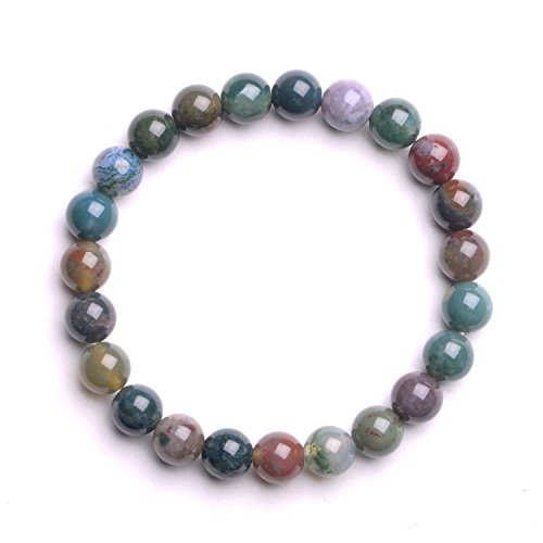 iSTONE Jewelry Natural India Agate Gemstone Beaded Bracelet Chakra Reiki Healing Stretch Bracelet 7