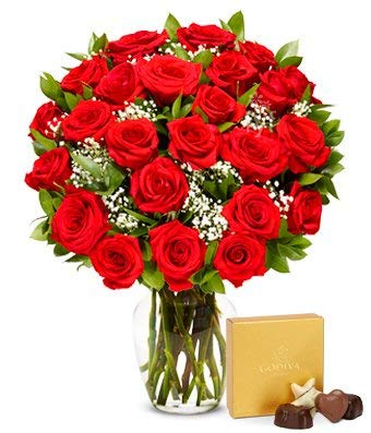 Flowers - Two Dozen Red Roses with Godiva Chocolates (Free Vase Included) ()