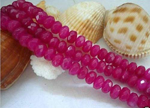 (FidgetKute Natural 5x8mm Faceted Brazilian Rose Red Ruby Gemstone Abacus Loose Beads)