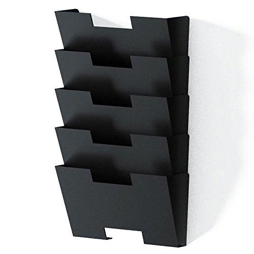 Hanging Wall File Folder Steel Magazine Newspaper Rack Holder Cascading Wall Organizer 5 Pack Black (Magazine Steel Holder)