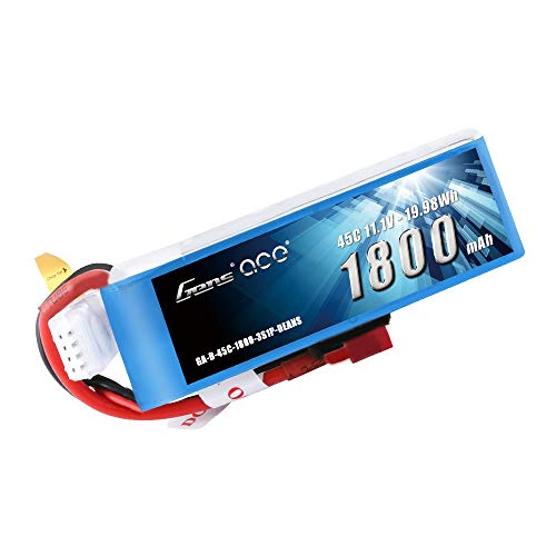 Gens ace 3S 1800mAh 11.1V 45C LiPo Battery Pack with Deans Plug for RC FPV Car Boat Truck Heli