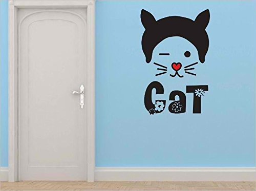 Design with Vinyl Cryst 379 741 As Seen Cat Animal Red Nose Long Whiskers Hat Vinyl Wall Decal Art, 12-Inch x 24-Inch, As - Cat 379