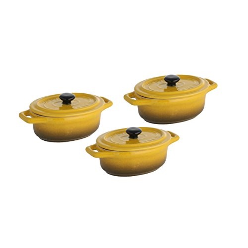 Axentia Mini Casserole Pot Set in Yellow - Earthenware Casserole Dish with Lid - Clay Terrines for Baking - Casserole Pot Microwave -