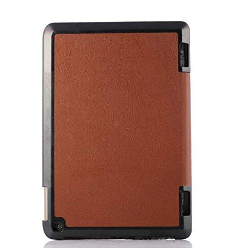 Ultra Slim Folio Stand Sleep/Wake Up Leather Case Smart Cover Compatible for Amazon New Kindle Fire HD 7 HD7 2014 7' Tablet (2014 Release, 4th Generation) +1x Clear Screen Protector Film (Brown)
