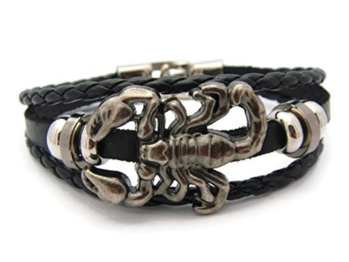 [APECTO Jewelry Unisex Charms Black Leather Rope Bracelet, Tribal Braided Cuff Bangle, SCORPION] (Dachshund Giraffe Costumes)