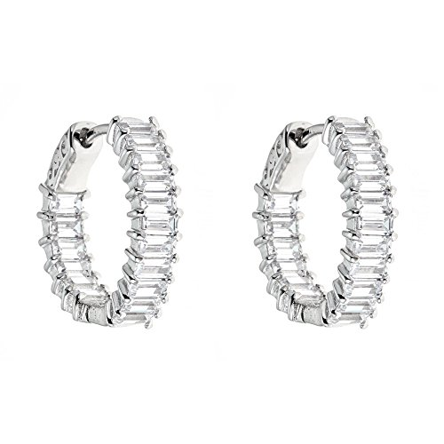 Platinum Plated 925 Sterling Silver Baguette Cubic Zirconia Full Ring Pave Cz Hoop Earrings