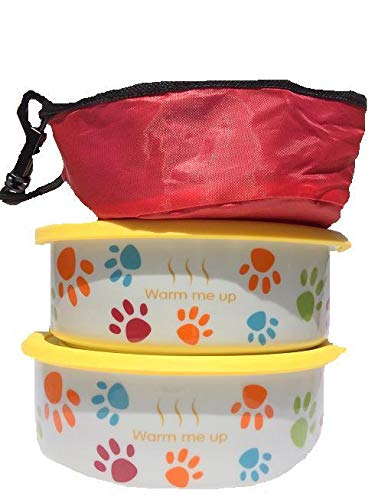 2 Dog/ Cat Bowls with Lid plus a Free Pet Travel Bowl. This Pet Dish Set is FDA approved porcelain material+ airtight storage lid plus collapsible Pet Travel Bowl for dog cat food or water by Quality Line (Image #2)