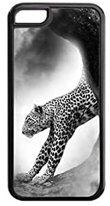 Cheetah-Black and White - Case for the Apple Iphone 5C- Hard Black Plastic Snap On Case