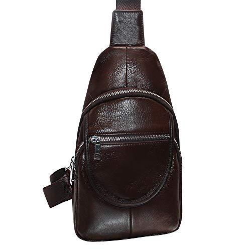 Men's Chest Bag, Cowhide Leather Crossbody Backpack Shoulder Sling Pack Travel Zipper Bags Multipurpose Daypack ()